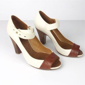 CHIE MIHARA Peep Toe Mary Jane Leather Pumps 6.5